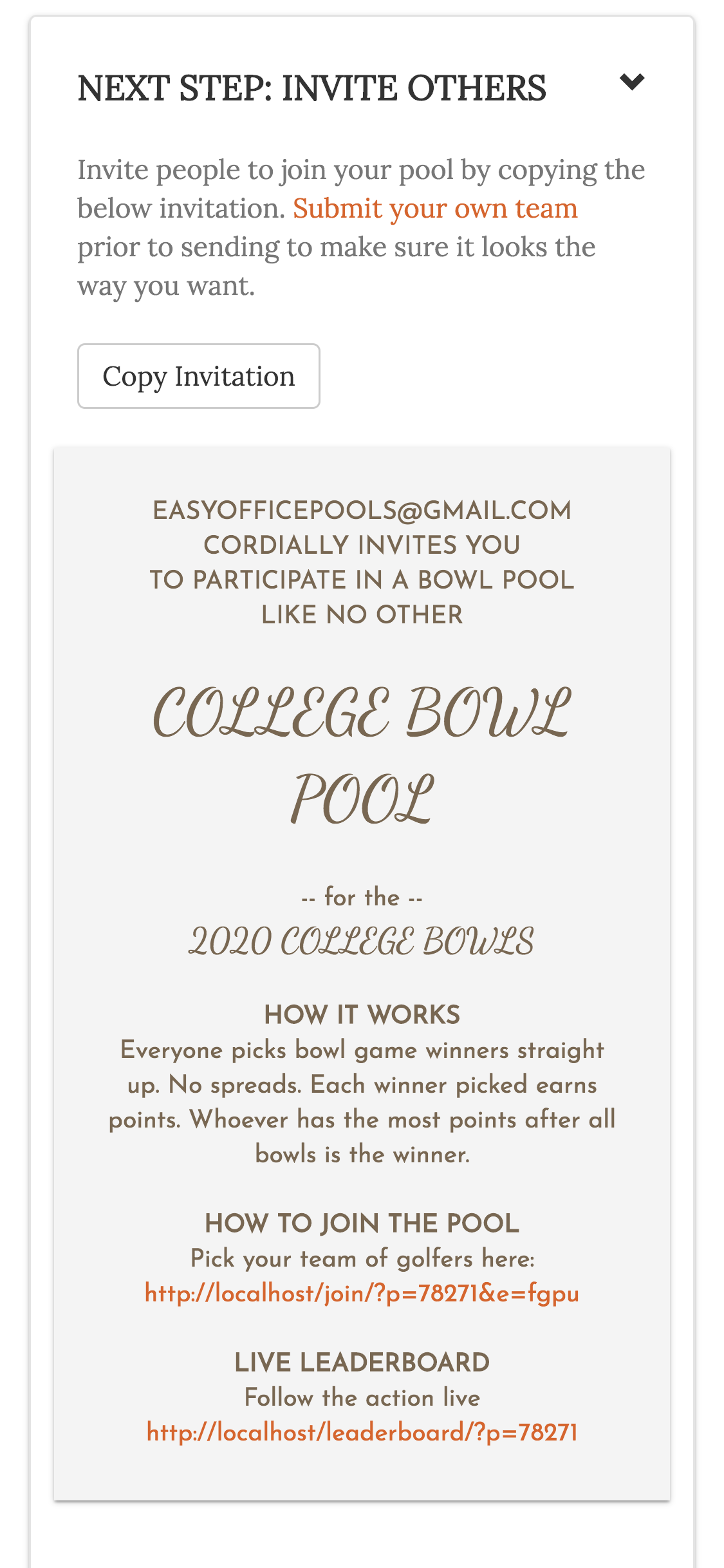 (4) Invitation for College Bowl Pool