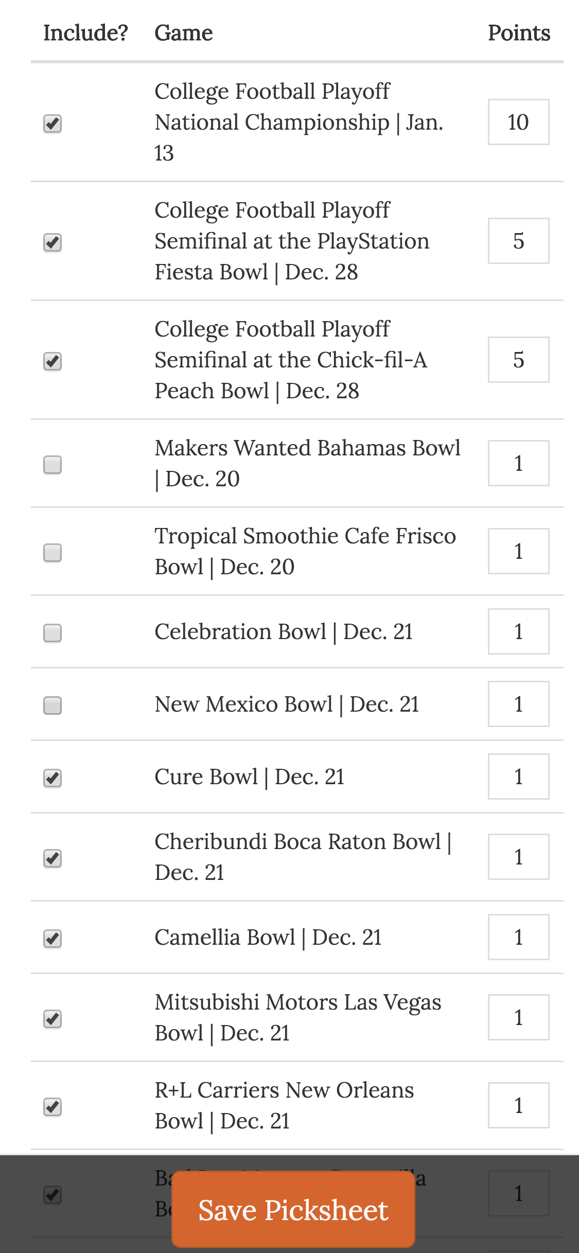 (6) Customized College Bowl Pool Online