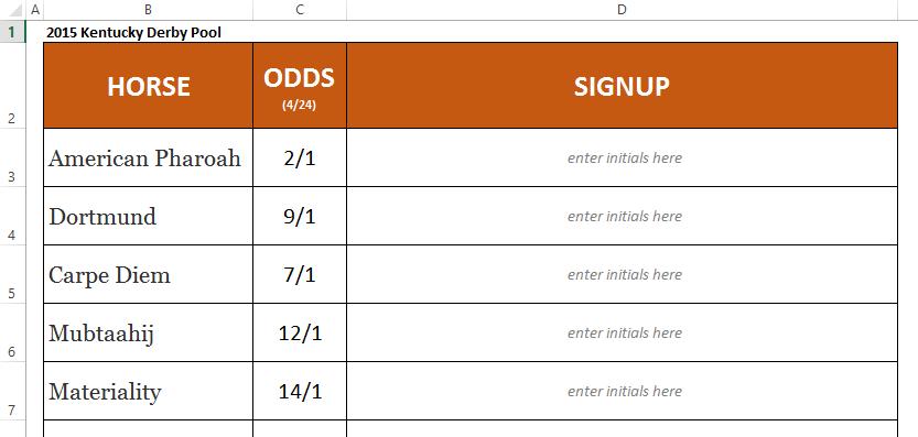 Kentucky derby office pool template screenshot